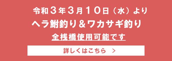 お知らせ(全桟橋使用可能)